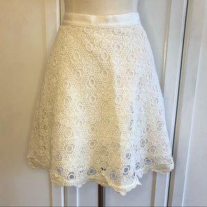 Club Monaco Cream Scalloped Lace Skirt